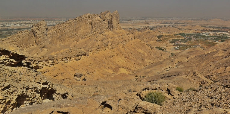 Looking down on the Green Mubazzaarah from Jebel Hafeet